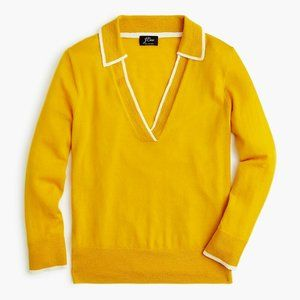 NWT J Crew Featherweight Cashmere Polo Sweater